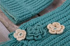 Set of scarf and hat Stock Images