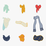 Set of scarves. For boy and girl in cold weather on white background Clothes for winter vector Royalty Free Stock Image