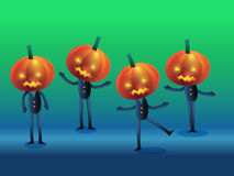 Set of scary halloween pumpkin head character Stock Image
