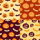 Set of Scary Halloween Pumpkin Pattern Stock Images
