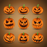 Set of Scary Halloween Pumpkins Stock Photo