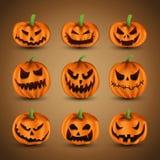Set of Scary Halloween Pumpkins Stock Photo