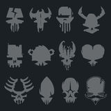 Set of scary monsters skull characters Stock Image