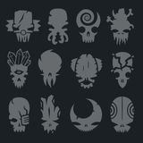 Set of scary monsters skull characters Royalty Free Stock Photo
