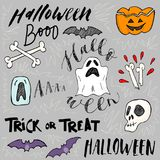 Set of scary things for halloween. Isolated hand drawn scetches. Hand lettering script Trick or Treat. Halloween concept Stock Images