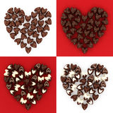 Set of scattered chocolate candy hearts Stock Images