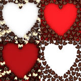 Set of scattered chocolate candy hearts Royalty Free Stock Photography
