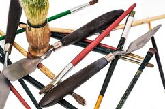 A set of scattered instruments of the artist stock photography