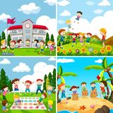 Set of scence of children playing royalty free illustration