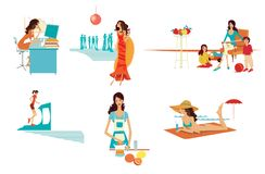 Set of 6 scenes from the life of a woman - at home, in the office, in the kitchen, on the beach, at a party and at the gym. Isolated on white background vector illustration