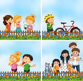 Set of scenes with people. Illustration vector illustration