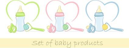 Set Schätzchenprodukte in den leichten Farben Stockfotos
