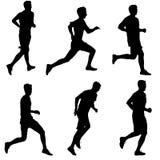 Set Schattenbilder Läufer auf Sprint, Männer Auch im corel abgehobenen Betrag Stockbilder