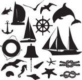 Set Schattenbilder, welche die Marinefreizeit symbolisieren Stockbild
