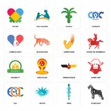 Set of schnauzer, mbbs, eac, german eagle, university, superpower, gynecologist, church, autism icons. Set Of 16 simple  icons such as schnauzer, mbbs, urchin Royalty Free Stock Photography