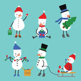 Set Schneemänner Zeichnungen für Grußkarten, Postkarten Lizenzfreie Stockbilder