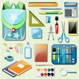 Set school accessories Stock Images