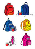 Set of school bag illustrations Stock Photography