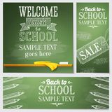 Set of school banners - different web site. Set of school banners for different web site templates with sample text place for your message. Vector illustration Royalty Free Stock Photo