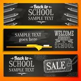 Set of school banners with place for your text and. Sale advertisement, and welcome back to school greeting Royalty Free Stock Photography