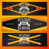 Set of school banners with place for your text and. Welcome back to school greeting Royalty Free Stock Photos