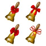 Set of school bells with red bows Royalty Free Stock Images