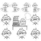 Set of boy face, emotions little boy sit at school, dreams behind a pile of books, monochrome drawing hand paint, little. Set of school boy emotions, face little Royalty Free Stock Image
