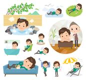 School boy Green Blazer_relax. A set of School boy about relaxing.There are actions such as vacation and stress relief.It`s vector art so it`s easy to edit stock illustration