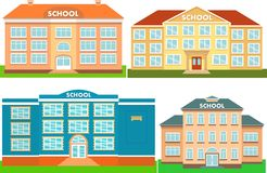 Set of school buildings. Vector illustration. Set of colorful school buildings. Vector illustration Royalty Free Stock Photography