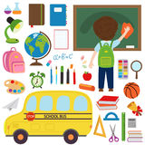 Set of  school bus and school supplies Royalty Free Stock Photo