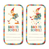 Set of school children's labels with the fairytale boy Royalty Free Stock Photo
