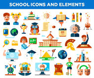 Set of school, college flat design icons and Stock Photos