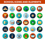 Set of school, college flat design icons and Royalty Free Stock Photo