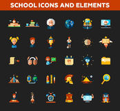 Set of school, college flat design icons and Stock Images