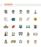 Set of school, college line flat design icons and Royalty Free Stock Image