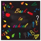 Set of school doodle vector illustrations on blackboard background Royalty Free Stock Photos
