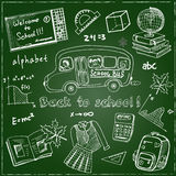 Set of school drawings on chalkboard. Sketches. Hand-drawing. Used for education, document decoration and packages product.  Vecto Stock Photo
