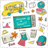 Set of school drawings on chalkboard. Sketches. Hand-drawing. Used for education, document decoration and packages product.  Vecto Stock Photography
