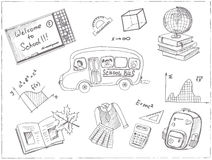 Set of school drawings. Sketches. Hand-drawing. Stock Photo