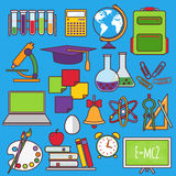 A set of school and education icons Royalty Free Stock Photography