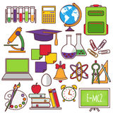A set of school and education icons Stock Photography