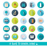 Set of school and education icons with shadows. Back to school. Flat design.  Stock Images