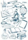 Set of the school and education items Stock Image