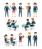 Set of School Education Situation. Set of illustrations with learning process, pupils in school uniform, pupils at school desk, school situation, school Royalty Free Stock Photography