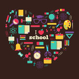 Set of school elements and subject in heart. I Royalty Free Stock Photos