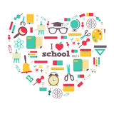 Set of school elements and subject in heart. I Royalty Free Stock Photo