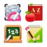 Set of School Equipment Icons Stock Image