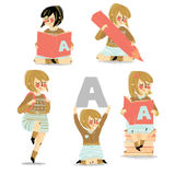 Set of school girl with accessories. Set of school girl with book, pencil, alphabet, backpack stock illustration