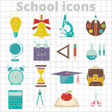 Set of 20 school icon flat. On tetrad background Royalty Free Stock Image