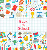 Set of School Icons, Back to School Objects Stock Photo